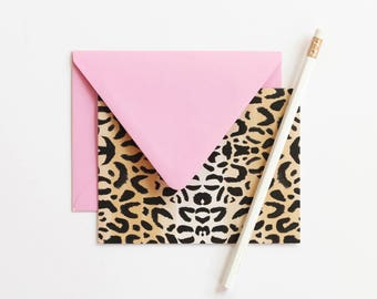 Stationery Set Leopard Print Blank Thank You Notes Animal Print Stationary Cute Note Cards Hostess Gift Blank Greeting Card Pink Stationery