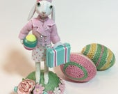 Easter Bunny , vintage style , easter and spring decoration , one of a kind , handmade