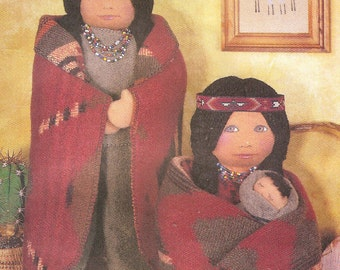 Vogue Craft Native American Dolls with Face Transfers For Two, Uncut Sewing Pattern