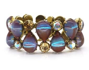 Vintage 1950s Regency Saphiret Glass Cabochon Aurora Borealis Bracelet