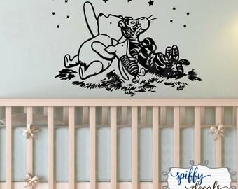 Winnie The Pooh Tigger Piglet Star Gazing Moon Wall Decal Sticker Nursery Classic Winnie The Pooh Bear Spiffy Decals