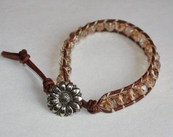 Stacking Bracelet - Czech Crystal Copper Leather Wrap Bracelet - Boho Jewelry, Crystal Bracelet, Stack Bracelet