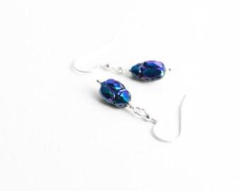 Scarab Earrings , Beetle earrings , Scarab crystal , Egyption scarab , Metalic Scarabaeus , Bug earrings , bug jewelry , Egyption symbol