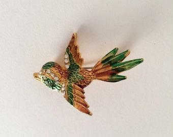 Vintage bird brooch green enamel rhinestones