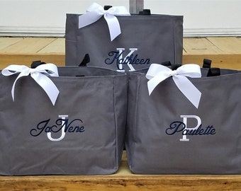 Set of 5 Bridemaid Bags Personalized Bags for Bridesmaids Tote Bags