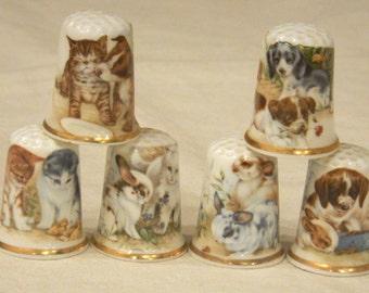 6 Birchcroft Fine Bone China Thimbles Bunny Rabbits-Puppy Dogs-Kittens-Cats Pets Animals