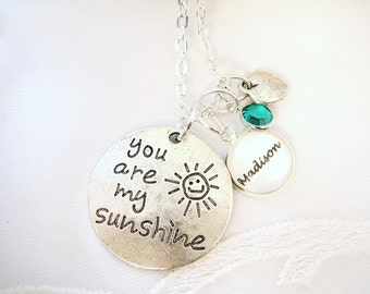 You Are My Sunshine Charm Necklace Gift for Daughter Gift for Mom Grandmother Charm Necklace Gift ADD Custom Name Personalized Message Charm
