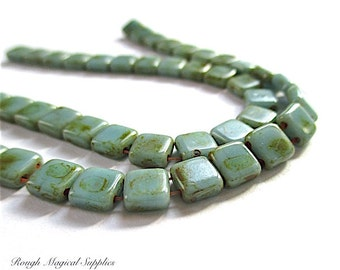 2 Hole Beads, 6mm Aqua Blue, Rustic Green, Square Beads, Czech Glass Beads, Earthy Colors, Luster Beads - 22 Pieces for Jewelry Makers SP763