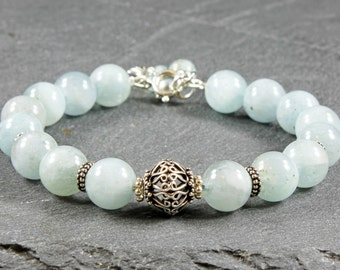 Aquamarine bracelet, Sterling Silver, fine, statement, pale blue gemstone, cluster charm, holiday gift for her, March birthstone, 3918