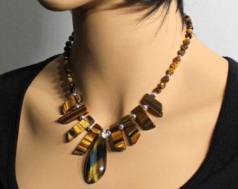 Tiger Eye Necklace, Sterling Silver, golden-brown gemstone, wire wrap pendant, bib, boho, artisan necklace, statement, gift for her, 4043