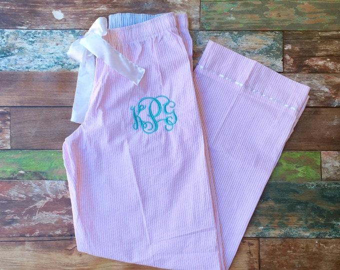 Monogram Seersucker Pajama Pants, Monogrammed Pajama Pants, Monogrammed gifts, Preppy Bridesmaid gift, Bridesmaid Pajamas, Honeymoon Pajamas