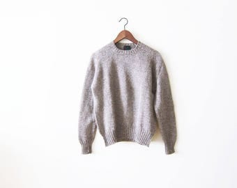 Vintage Wool Sweater / Vintage Abercrombie and Fitch Shetland Wool Pullover / Taupe Beige Knit Jumper Small