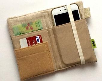 Wool iPhone wallet, tweed wallet, wool tweed cell phone wallet, iPhone 7 wallet beige wallet iPhone 6 wallet TLC Pouches, samsung galaxy