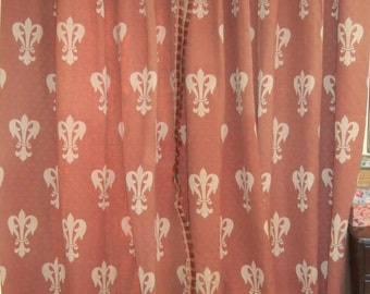 Antique French, Chateau Curtains.  Fleur de Lys, Huge Drapes, Chateau, Drapery.
