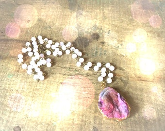Natural Pink Galaxy Quartz Druzy Beaded Necklace
