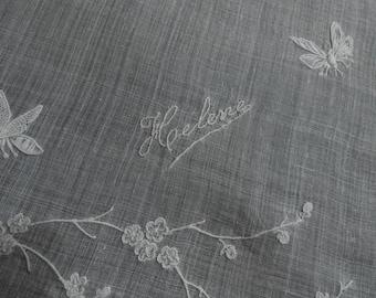 Helene Monogram Hanky Vintage Sheer Linen Handkerchief White on White Embroidery, Something Old, Gift Hankie Name Helene with an E