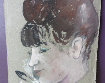 Antique French Unknown Woman & Rabbit Pastel Portrait, Paris, France, Sketch, Drawing, Impressionism, Lautrec, Art, Painter, Degas, Vintage