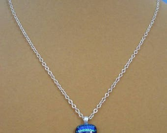 """Sparkiling 18"""" Dichrotic Glass Pendant Necklace - N521"""