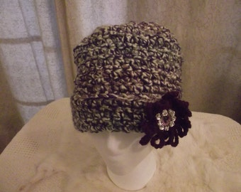 Crochet Hat Purple  White and Gray