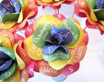 Personalized Rainbow Decoration Paper Roses with Personalized Print for Birthdays, Weddings, Any Special Occasion or  Wizard of Oz Theme
