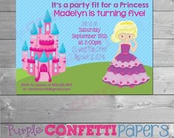 Princess Birthday Invitation, Printable Princess Invitation, Princess Invite, Printable Princess Invite, Blonde Princess Invitation, Blonde