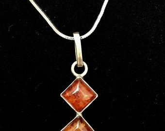 Vintage Sterling Silver Double Amber Necklace, Pendant, Serpentine Chain, Romantic Gift