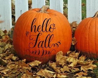 Hello Fall Personalized Fall Pumpkin Monogram Decals - Custom Pumpkin Decals
