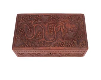 Vintage Wooden Carved Dragon Box, Wooden Asian Box, Hand Carved Wooden Box, Lidded Wood Jewelry Box, Decorative Box Wooden, Trinket Box