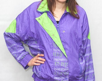 Vintage 90s Abstract Windbreaker Jacket in Purple & Green / Made by SFO / Size Small