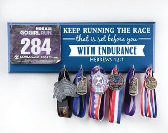 Running medal holder and race rib holder  - Hebrews 12:1 - keep running the race
