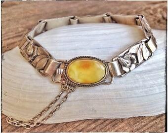 Antique silver bracelet, flower bracelet, BALTIC AMBER bracelet, silver bracelet, natural Baltic amber, egg yolk amber, Denmark 1920s
