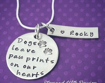 Custom Pet Necklace - Personalized dog  Neckalce - Dog Memorial Necklace - Dogs leave paw prints on our hearts