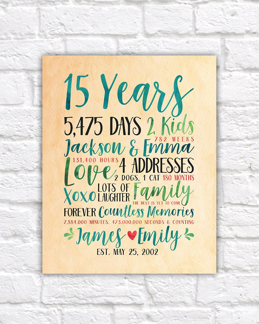 15th Wedding Anniversary Gift For Wife: Modern Anniversary Gift Idea, Choose Any Year Wedding Or