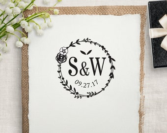 Custom Rubber Stamp, Wedding Monogram Stamp, DIY Wedding Stamp for Coffee Sleeve, Napkins, Favors, Save The Dates & More. Custom Stamp W20