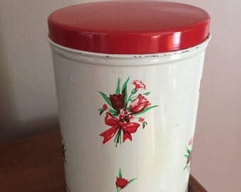 Vintage Metal Canister, Red White Flowers, Cottage Chic Farmhouse Kitchen,