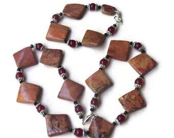 Terracotta Red Necklace Bracelet Set, Art Deco Geometrical Modern Statement Jewelry, Natural Jasper Stone, OOAK Handmade Unique ALFAdesigns