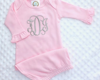 Personalized Embroidered Monogrammed Newborn Infant Baby Pink, White, or Blue Sleep Sack Gown - Layette - Sleeper - Gift - Take Home Outfit