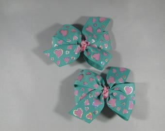 Teal & Pink Heart Hair Bow Set for Pigtails or Twins, Heart Hair Clips, Pinwheel Bow Set, Girl Baby Shower or Birthday Gift, Heart Barrette