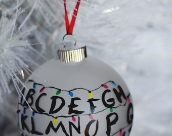 "Stranger Things Ornament 4"" //  Hand Painted Glass // Christmas Lights Wall // Tree Ornament"