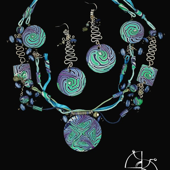 Blue ice. polymer clay jewelry set, long circle earrings, blue green necklace. cool gift for her, boho jewelry