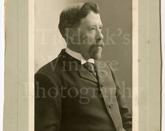 Cabinet Card Photo - Edwardian Smart Man, Goatee Beard, Quiff, High Collar Portrait - Cochran of Hamilton & Brantford Canada - Antique Photo