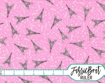 PINK EIFFEL TOWER Fabric by the Yard, Fat Quarter Pink Paris Fabric Michael Miller Quilting Fabric 100% Cotton Fabric Apparel Fabric t5-5