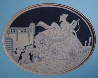 Art deco print - vintage print - hand tinted print - masquerade ball - pierrot- Venetian art - masquerade -wall art -
