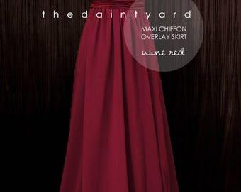 Chiffon Overlay Skirt in Wine red for Maxi Long Convertible Dress / Infinity Dress / Wrap Dress / Octopus Dress
