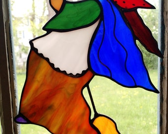 Kitchen Witch Stained Glass Suncatcher