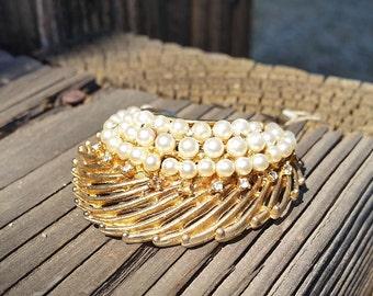 Vintage Faux Pearl Half Swirl Goldtone BSK Brooch