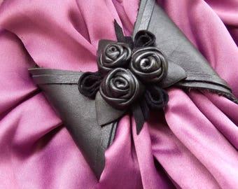 Sold order, Leather black cuff bracelet, Woman Boho Jewelry, Christmas, Wrist Wallet, Purse, Wristbands