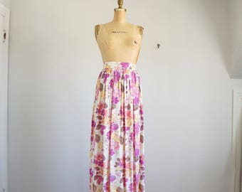 50s painterly floral print taffeta maxi skirt