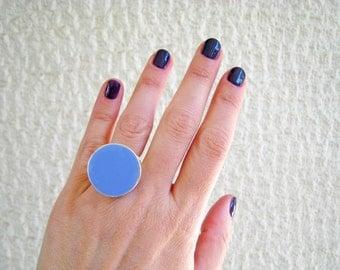 Sky blue statement ring, blue resin ring, cyan indigo light blue ring, modern minimalist, round big chunky ring, color block jewelry