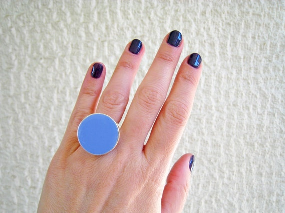Sky blue statement ring, blue resin ring, cyan indigo light blue ring, modern minimalist, round big chunky ring, color block jewelry